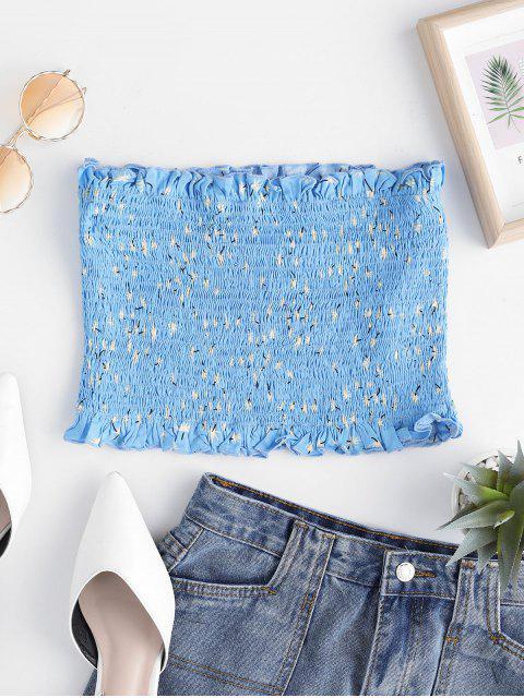 trendy ZAFUL Leaf Print Smocked Ruffle Tube Top - BLUE KOI L Mobile