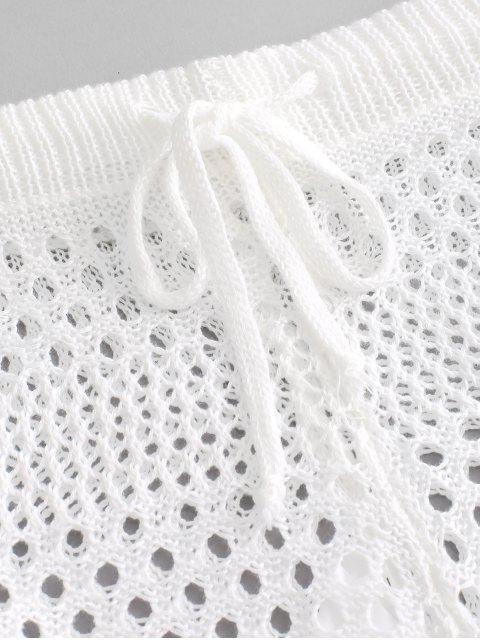 Прозрачные Шорты Со шнуровкой Вязание - Белый XL Mobile