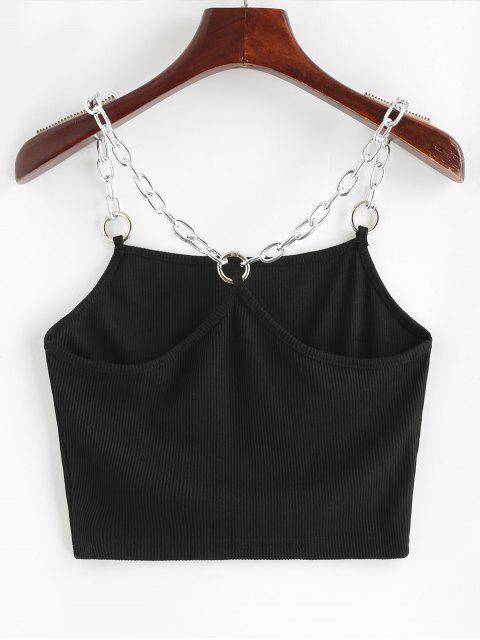 shop Chains Ribbed Crop Tank Top - BLACK S Mobile