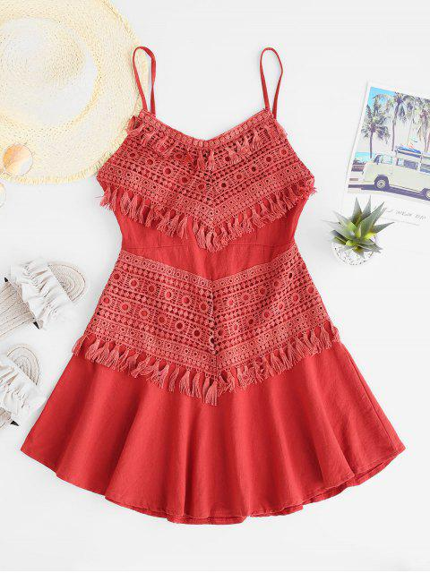 women Crochet Panel Tied Back Tassels Cami Dress - RED L Mobile