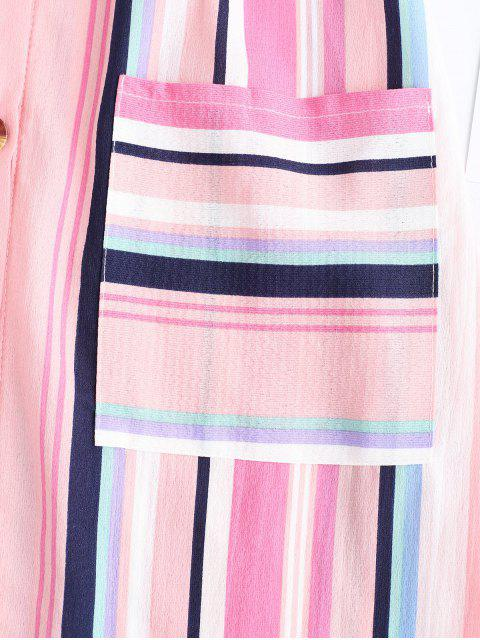outfit Pockets Stripes Button Up Mini Dress - MULTI-A M Mobile