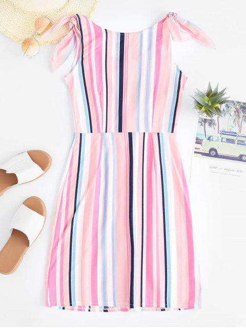 buy Pockets Stripes Button Up Mini Dress - MULTI-A XL Mobile