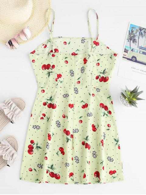 outfit Dotted Cherry Print Cami Mini Dress - GREEN XL Mobile