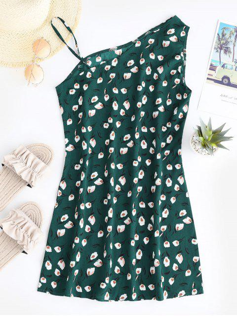 fashion Floral Slit Mini Sleeveless Dress - GREEN S Mobile