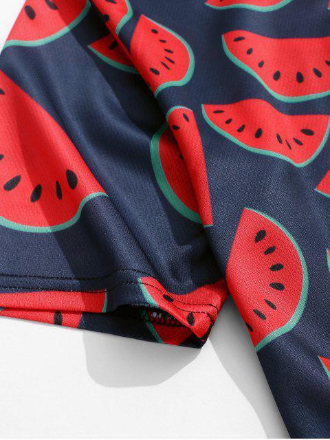 Camiseta de manga corta con estampado de sandía en toda la prenda - Rojo de Valentín 2XL Mobile