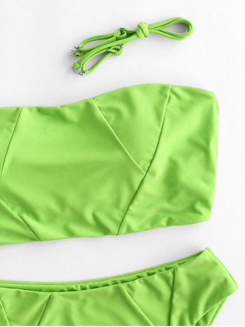 shop ZAFUL High Waisted Lattice High Leg Tankini Swimsuit - YELLOW GREEN L Mobile