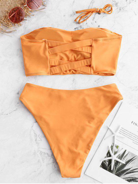 ZAFUL Traje de baño Tankini con pierna alta y celosía de cintura alta - Sandy Brown L Mobile