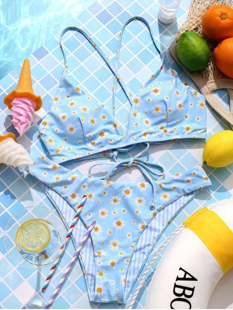 outfits ZAFUL Reversible Daisy Striped Lace Up Bikini Swimsuit - MULTI-A M Mobile