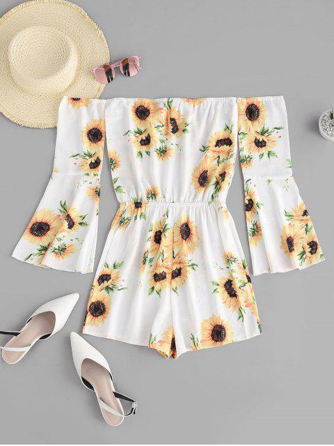 lady ZAFUL Sunflower Off Shoulder Bell Sleeve Romper - WHITE M Mobile