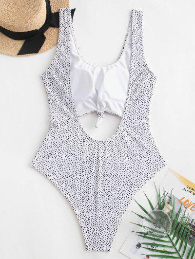 2b74826be8519 ... ZAFUL Dotted Cut Out Knotted One-piece Swimsuit - White - White M