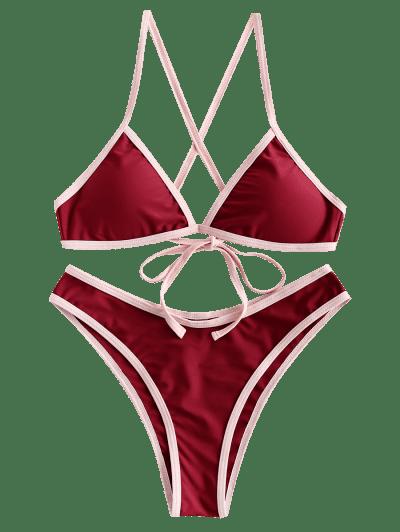 ZAFUL Contrast Trim Criss Cross High Leg Bikini Swimsuit, Red wine