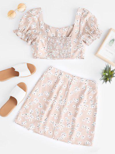 f15eb56ae ... ZAFUL Flower Smocked Slit Mini Skirt Set - Apricot - Apricot M