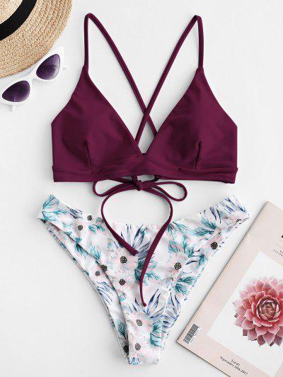 de7c72ce5e ZAFUL Criss Cross Floral Padded Bikini Set - Velvet Maroon - Velvet Maroon  L ...