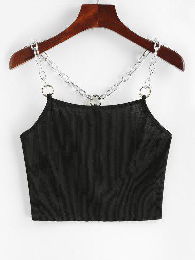 Chains Ribbed Crop Tank Top - Black M