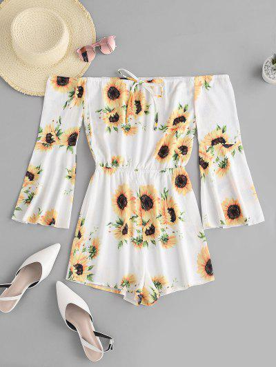 ZAFUL Sunflower Off Shoulder Bell Sleeve Romper - White L