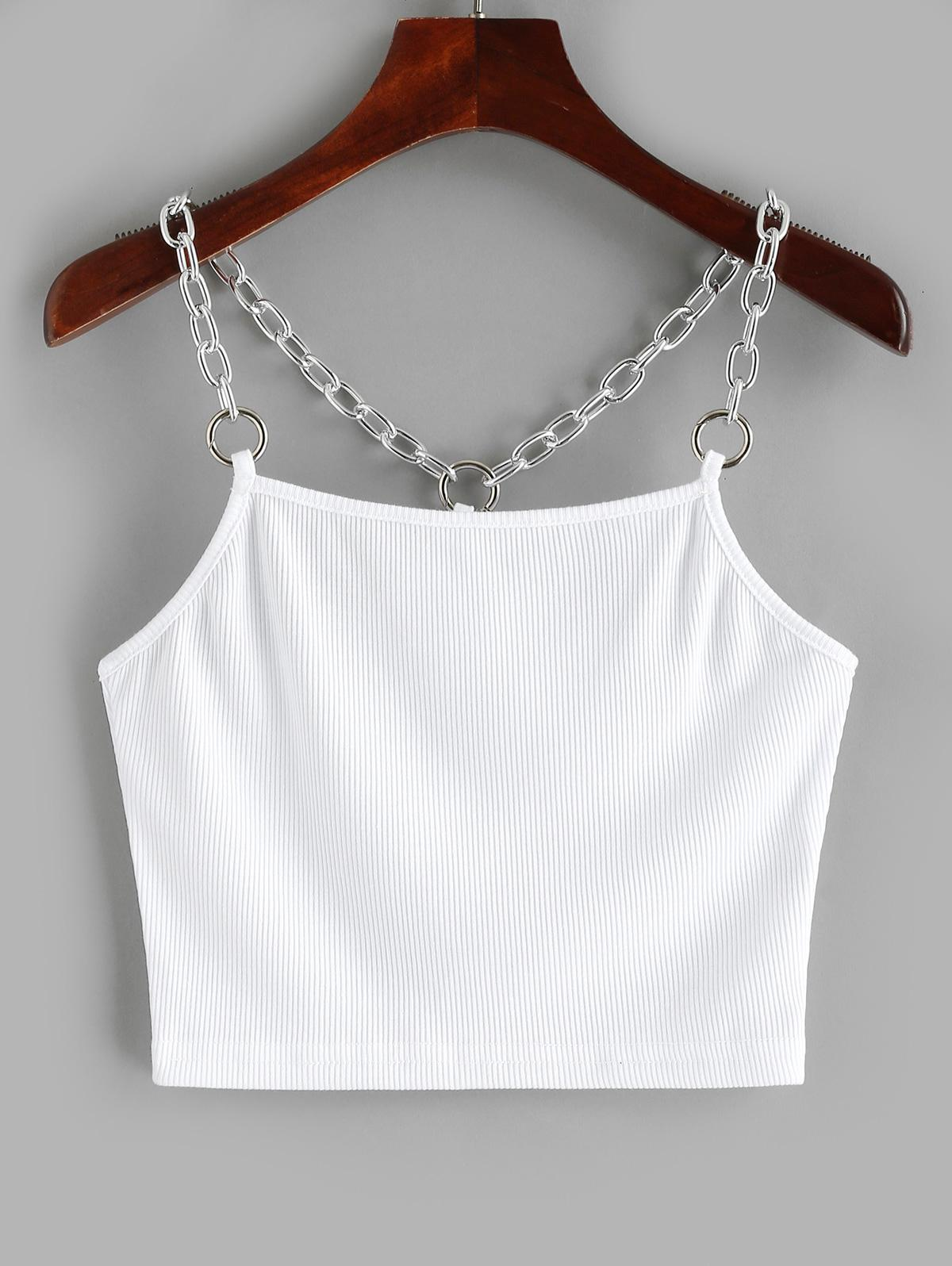 Chains Ribbed Crop Tank Top