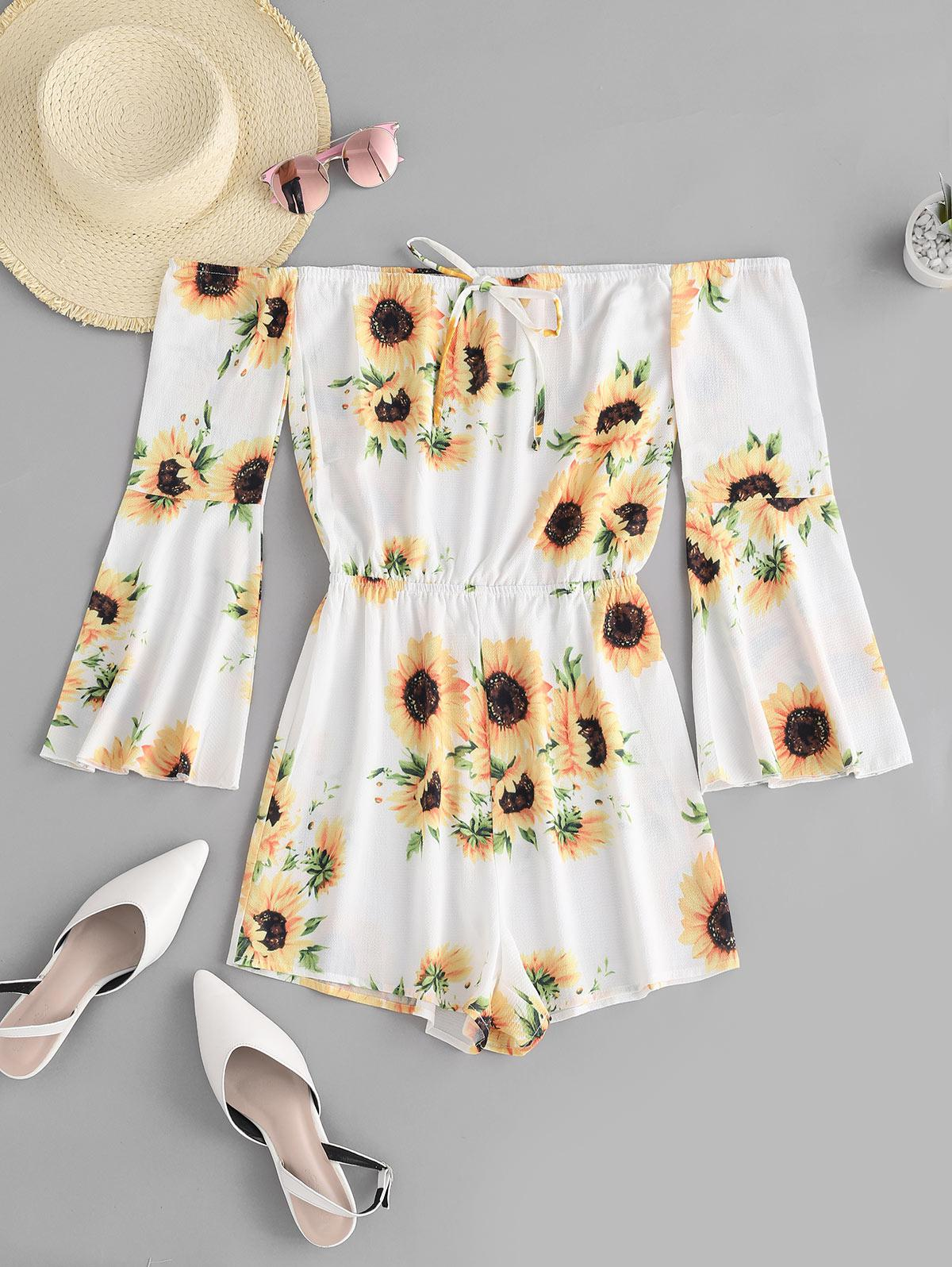 ZAFUL Sunflower Off Shoulder Bell Sleeve Romper