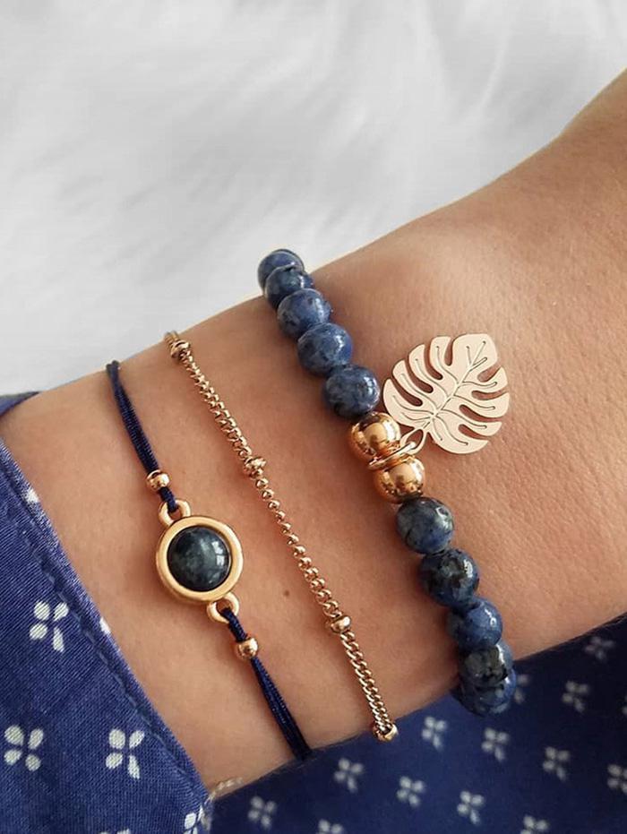 3Pcs Tropical Leaf Beaded Bracelet Set