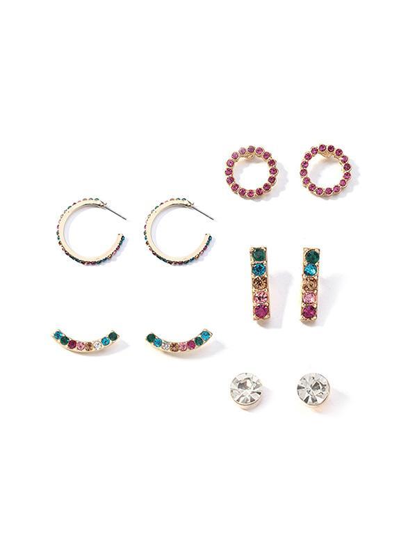5Pairs Rhinestone Decorated Round Earrings Set