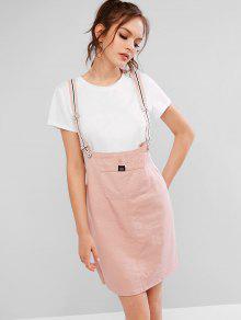 الجبهة الجيب البسيطة فستان عارضة حمالة - خنزير وردي M