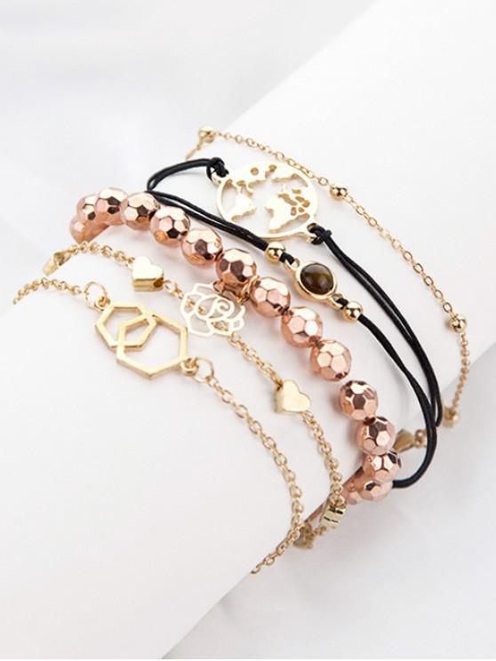 Set de 6 pulseras con corazón de rosa - Oro