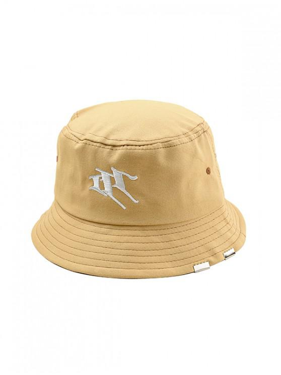 chic Letter Embroidery Casual Style Bucket Hat - KHAKI