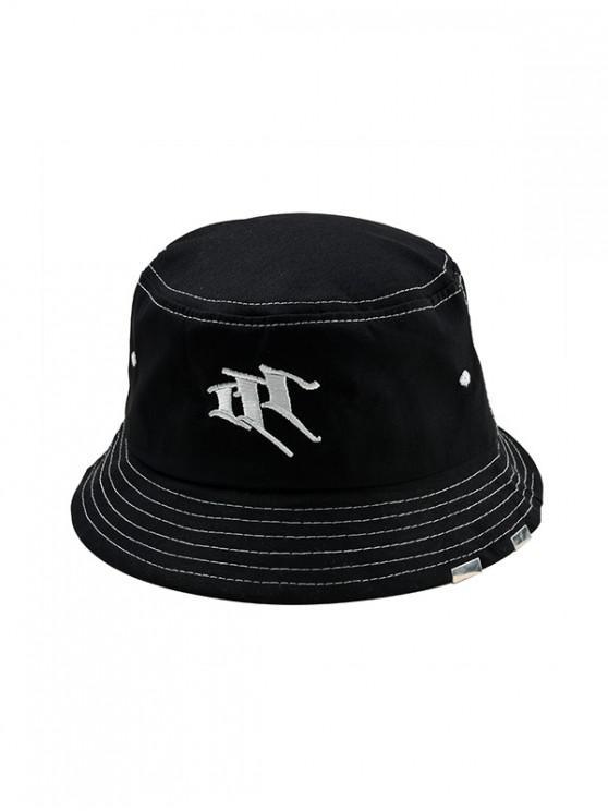 Sombrero del cubo del estilo ocasional de la letra del bordado - Negro