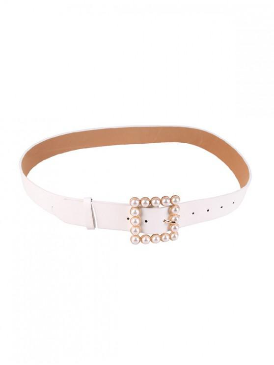 fancy Square Pearl Buckle Belt - WHITE