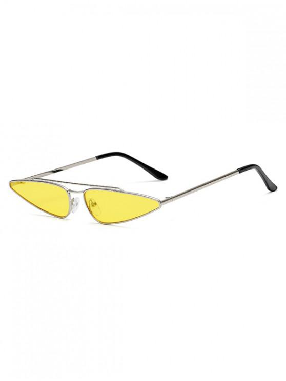 womens Metal Frame Retro Triangle Sunglasses - YELLOW