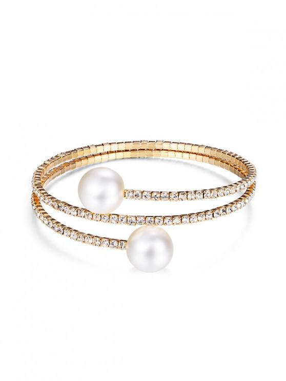 trendy Rhinestone Faux Pearl Layers Bracelet - GOLD