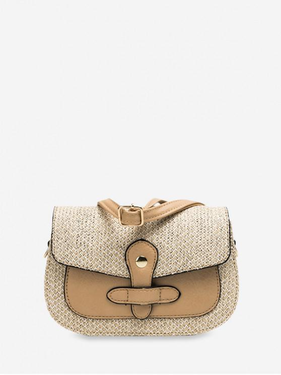 fashion Cover Knitted Patchwork Crossbody Bag - TAN