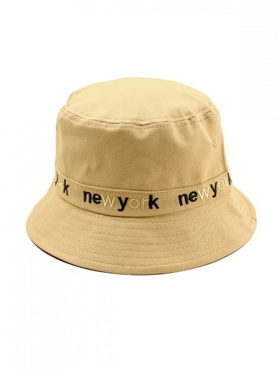 Sombrero del cubo del top plano de la letra del bordado - Caqui