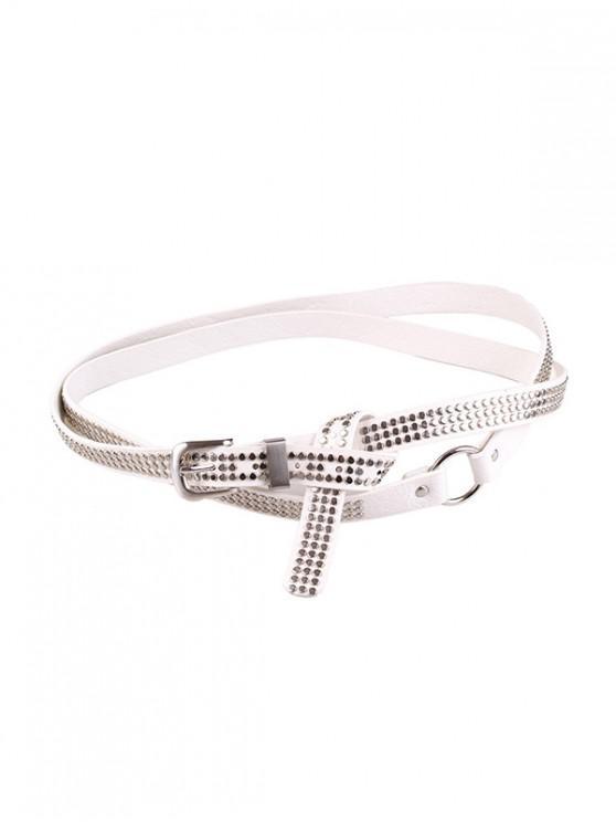 hot Punk Rivet Long Belt - WHITE