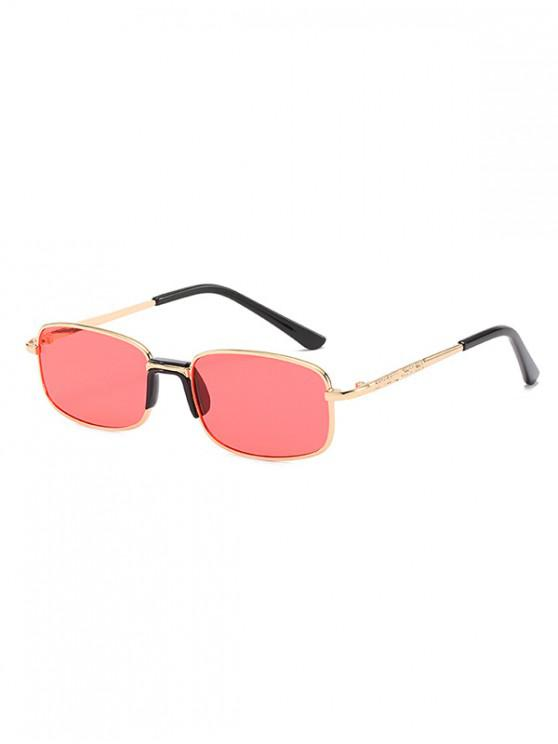 fashion Metal Frame Unisex Rectangle Sunglasses - ORANGE