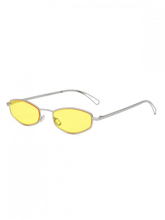 women's Retro Small Metal Frame Unisex Sunglasses - YELLOW