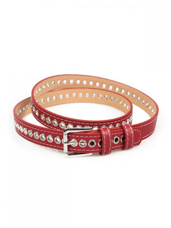 new Grommet PU Leather Buckle Thin Belt - RED