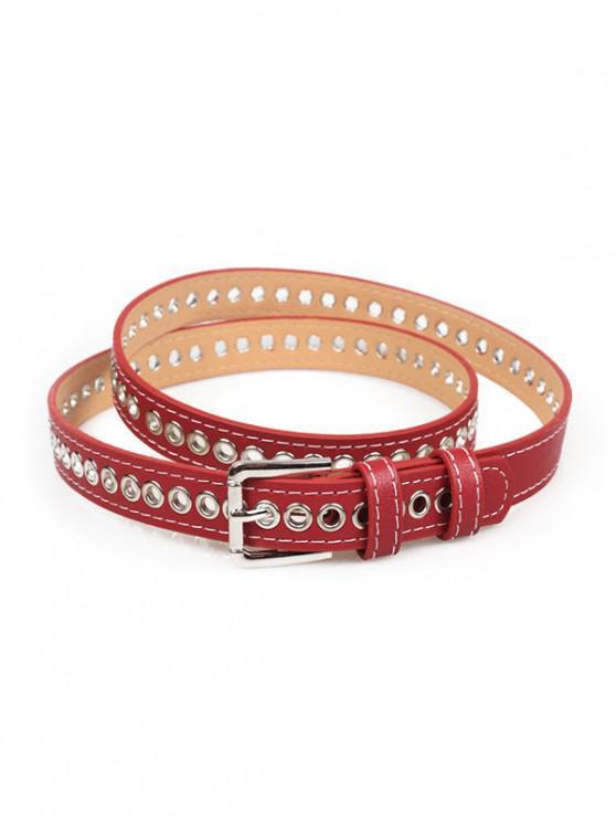 Ojal PU cuero hebilla cinturón fino - Rojo