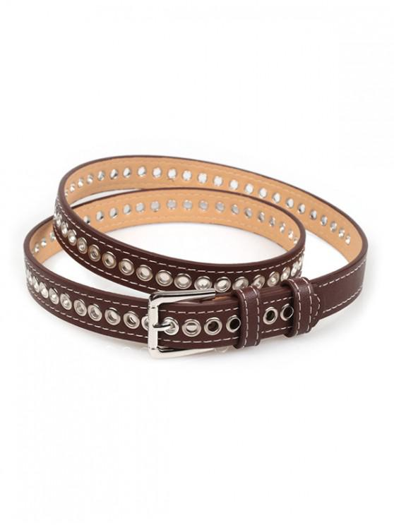 outfit Grommet PU Leather Buckle Thin Belt - COFFEE
