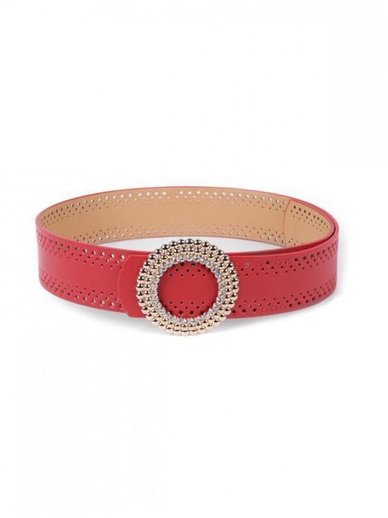 Hebilla redonda retro pu cuero salvaje cinturón - Rojo