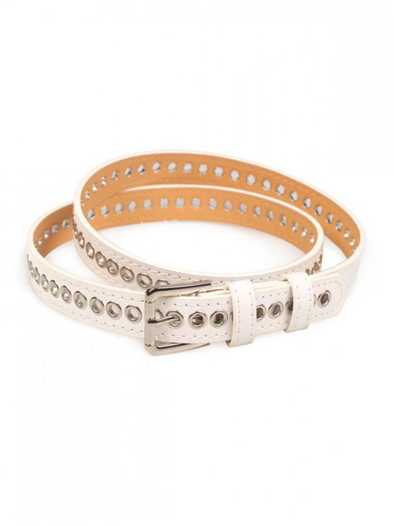 chic Grommet PU Leather Buckle Thin Belt - WHITE
