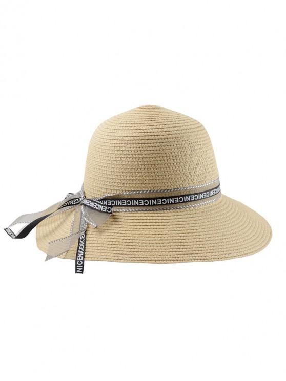 Carta de fita Bowknot chapéu de palha - Creme De Cristal Regular