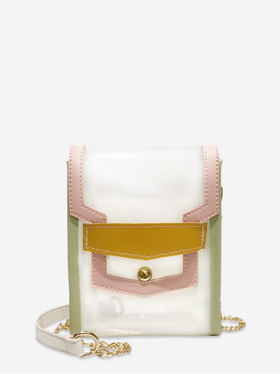 Bolso bandolera de PVC transparente color block mini - Blanco