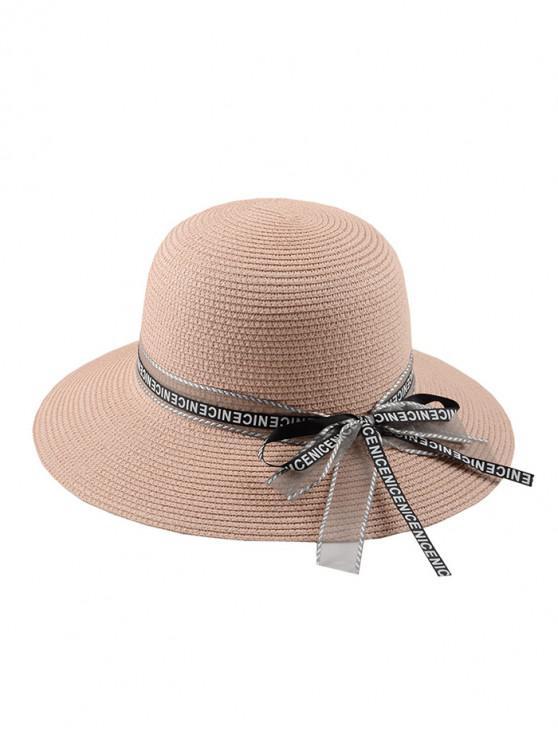 ladies Letter Ribbon Bowknot Straw Hat - PINK REGULAR