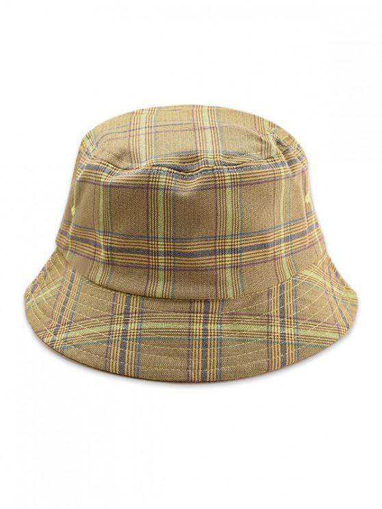 Sombrero de cubo a cuadros de doble cara - Amarillo