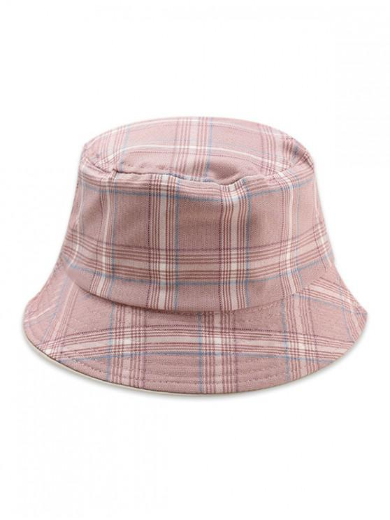 lady Double-sided Plaid Bucket Hat - PINK