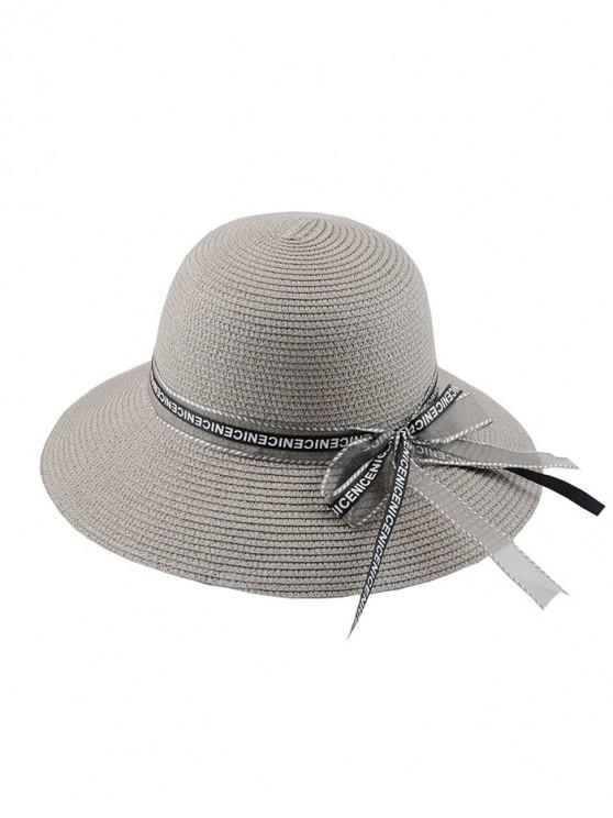 outfits Letter Ribbon Bowknot Straw Hat - GRAY REGULAR