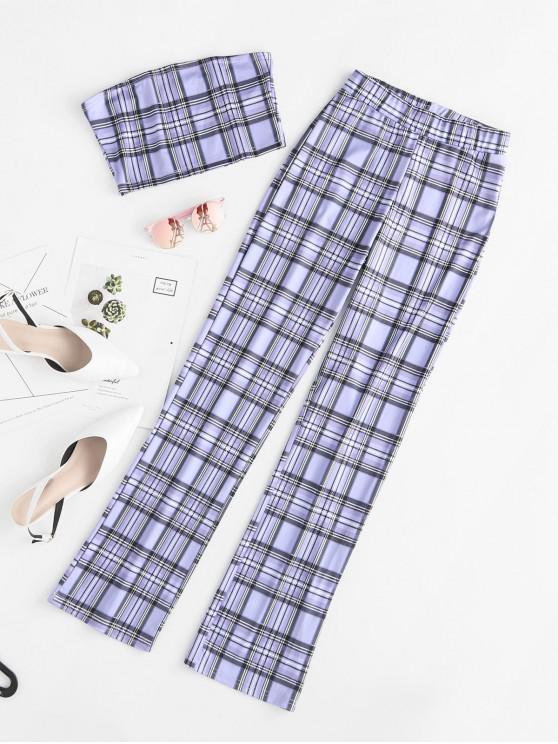 outfits Plaid Bandeau Top and High Waist Pants Set - PURPLE AMETHYST M