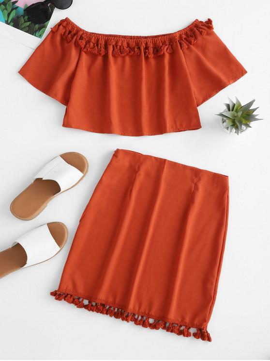 women's Crochet Panel Off Shoulder Tassels Top And Skirt Set - LIGHT BROWN M