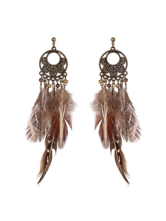 outfit Ethnic Feather Long Drop Earrings - BRONZE