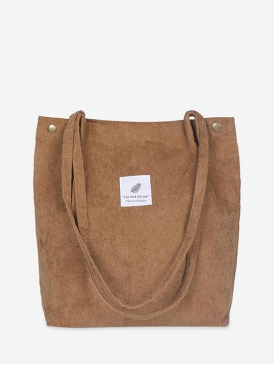 outfits Canvas Simple Tote Bag - LIGHT BROWN